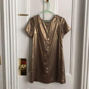 Cynthia Steffe Gold Lamé Shift Dress